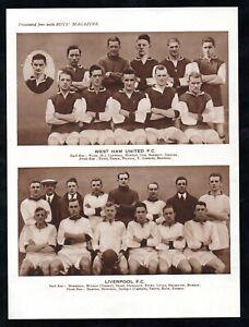 BOYS Magazine comic issue 1920s Football team group LIVERPOOL FC  West Ham UTD