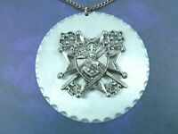 Unique Vintage Layered Crest Medallion Necklace Silver Tone Chain Chunky