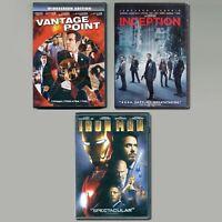 3 PG-13 movies Vantage Point, Inception, Iron Man DVD lot action spies superhero