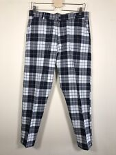 Boohoo Punk, Grunge Style Tartan Navy & White Slim Trousers, 34R, Large