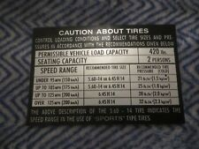 1968 DATSUN SPL311 SRL311 1600/2000 TIRE PRESSURE DECAL