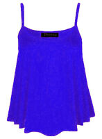 New Womens Ladies Sleeveless Plain Cami Swing Top Vest Mini Dress Plus Size