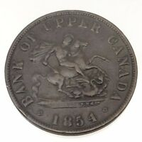 1854 Bank of Upper Canada One 1 Half 1/2 Penny Token Copper Canadian Coin B526