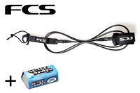 FCS 6' Black Essential Comp Surfboard Leash + Wax