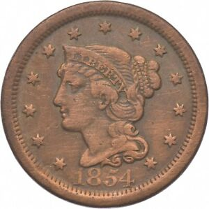 Tough - 1854 Braided Hair Large Cent - US Early Copper Coin *420