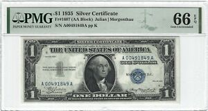 Fr.1607 1935 $1 Silver Certificate, Julian/Morgenthau, AA Block, PMG 66EPQ GEM +
