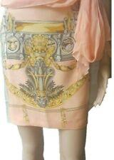 Renato Nucci Paris velvet silk salmon barocque print mini skirt-IT44,US10,UK1