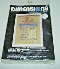 New listing Vintage 1989 Dimensions Needlepoint Counted Cross Stitch Antique Baby Record New