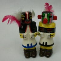 Vintage Hand Painted Totems with Feather Salt & Pepper Shaker Set
