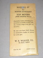 Weaver Top Mount Base #57 Winchester 52 NOS