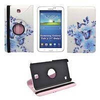 Custodia Bianca Blu Farfalla e fiore stampa 360 Cover per Samsung Galaxy Tab 3 7