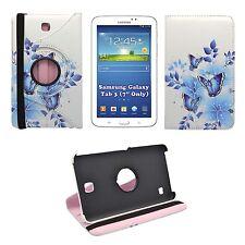 """caso blanco mariposa azul y flores estampado 360 para Samsung Galaxy Tab 3 7"""""""