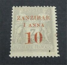 nystamps French Offices Abroad Zanzibar Stamp # 13 Mint OG H $185  U18y3014