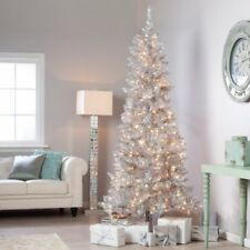 Sterling 9' Pre-lit Slim Silver Tiffany Tinsel Artificial Christmas Tree clear