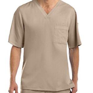 Grey's Anatomy Men's 0103 V-neck 3 Pocket Scrub Top Khaki NEW 4XL