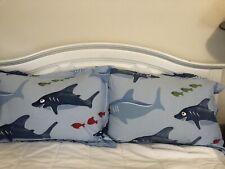 Pottery Barn Kids Shark Fish Blue Pillowsham 2 Pc Set