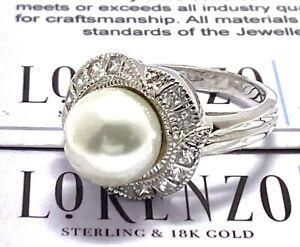 Designer Lorenzo .925 Sterling Silver 9mm Pearl & 0.25ct Topaz Anniversary Ring