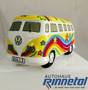 """VW Spardose gelb, T1, Bulli, """"Flower Power Bulli"""", Keramik, 211087709C 18R"""