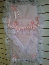 Stunning Romany Pink Pram Set with Lace,Satin&SWAROVSKY CRYSTALS