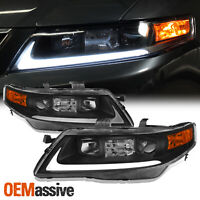 [Black] Fits 2004 2005 2006 2007 2008 Acura TSX LED Bar Projector Headlights