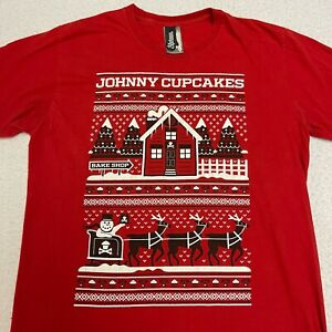 Johnny Cupcakes Red Christmas T Shirt Size Large Crew Neck Short Sleeve