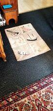 Vintage Hand Hooked BOAT, FLORAL, Rug ~ 2' x 3' ~ Old Folk Art ~  Wear - As Is