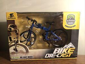 Mountain Matel Bike 1:10 Scale Diecast Bicycle Cross Mountain, Blue, Rare Bike!