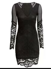 H&M Black Mixed Lace High Low Vintage style cocktail dress Size M
