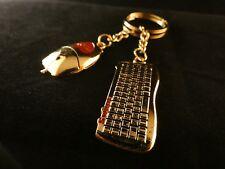 24 Karat vergoldet Schlüssel Anhänger Maus Tastatur Büro Gamer Partner Paar Love