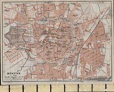 1925 GERMAN MAP ~ MUNSTER CITY PLAN GARDENS PUBLIC BUILDINGS