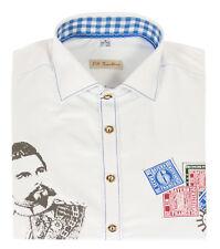 NEU Trachtenhemd Hemd aufwendig verarbeitet Druck König Ludwig weiß