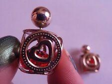 Orecchini Love cuore rossi dorati con perle! Idea regalo! Idea! Donna! Amore!