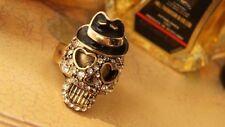 skull cowboy gold tone rhinestone Costume Ring Adjustable Unisex Jewellery gift