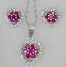Natural Ruby &White CZ Necklace Heart Earrings Jewelry White Gold Set