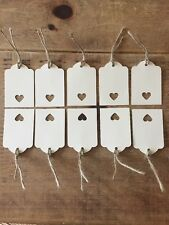 10 Handmade Cream Gift Tags-labels-wedding-name-scalloped edge-large-with heart