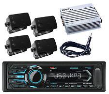 Marine Mp3 Bluetooth iPod AUX USB Radio&Amplifier,Antenna,4 Black Box Speakers