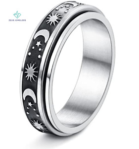 Sun and Moon Anxiety Fidget Ring Stainless Steel ADHD Decompression Jewelry 6mm