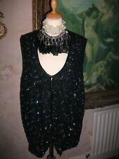 Ladies Gothic Black beaded & sequin waistcoat size 18/20