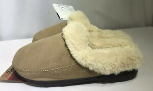 Dearfoams Women's Slippers Moccasins Tan Faux Suede L (9/10) Trimmed Faux Fur