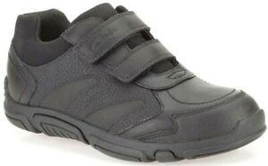 Clarks JACK SPARK Boys Black Leather Riptape Shoes School Shoes Size UK 10 H