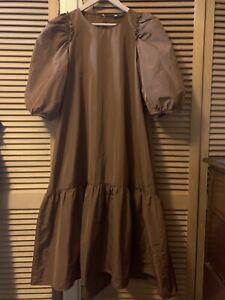 ZARA Voluminous Brown Taffeta Midi Smock Dress Size L