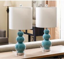 """Set of 2 Turkish Blue Ceramic Table Lamps ~ White Shades ~ 3-Tiered Base ~ 20"""" H"""