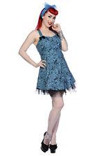 Banned Alternative Apparel Rockabilly Blue Skull Dress with Bows US Medium