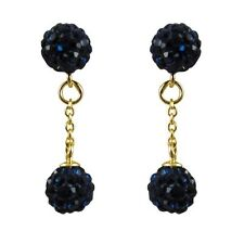 Sterling Silver Gold Plated Navy Crystal Balls Dangle Drop Earrings