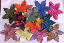 Batik Six Petal large flowers fabric Pack remnants patchwork bundle 100%cotton