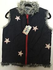 NEW Maureene Keene NYC Reversible Vest July 4 HTF Silk ShagFur NWT S Small Stars