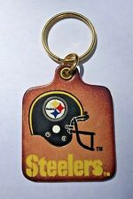 Vintage NFL Football Pittsburgh Steelers Logo Leather Keychain - NOS