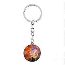 Vintage Glass photo Cabochon Tibetan silver Metal Key Ring (Dragon phoenix)