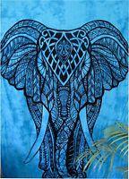Twin Indian Blue Elephant Mandala Hippie Wall Hanging Tapestry Gypsy Bedspread