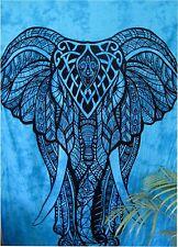 DOBLE Hippie Mandala Indio Elefante Azul Colgante De Pared Colcha Tapiz Gitano